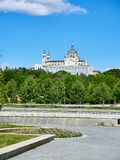 Green spaces of Madrid Rio with the Almudena Cathedral in background. Stock Images
