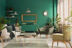 Green spacious living room interior. Copper table on rug between beige sofa and armchair in green, spacious living room interior with mockup Royalty Free Stock Image