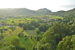 Green valley with pastures Cantabria Spain royalty free stock photography