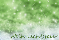 Green Sparkling Background, Snow, Weihnachtsfeier Means Christmas Party. German Text Weihnachtsfeier Means Christmas Party. Green Sparkling Christmas Background Stock Photography