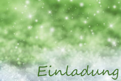 Green Sparkling Christmas Background, Snow, Einladung Means Invitation Royalty Free Stock Photos