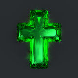 Green sparkling jewel cross Royalty Free Stock Photography