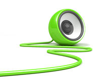 Green speaker with cable over white Royalty Free Stock Photo