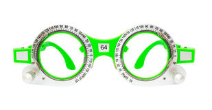 Green Spectacles used for eyesight tests isolated Stock Photo