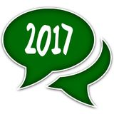Green speech balloons with 2017 text message. Illustration royalty free illustration