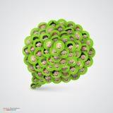 Green speech bubble made of smiling faces. Royalty Free Stock Photos