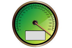 Green speedometer. Illustration with copy-space indicating a very fast moving vehicle Royalty Free Stock Image