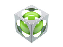 Green sphere. Which is located in a cube with apertures Stock Image
