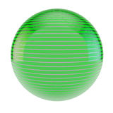 Green sphere. Green abstract striped sphere on white Stock Photo