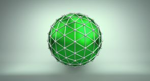 Green sphere and polygonal wireframe 3D illustration. Green sphere shape and polygonal metalic wireframe. Abstract 3D illustration rendered with DOF Stock Photos
