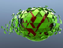 Green Sphere Shattered Abstract 3d isolated Stock Photography
