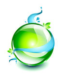 Green sphere with water. Green glossy sphere with flowing water around it, with green leaves Royalty Free Stock Photo
