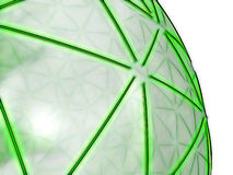 Green spheric network on transparent surface. Representation of a spheric network, composed of shiny green segments on a semi-transparent grey surface, referring Royalty Free Stock Photo
