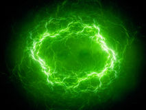 Green spherical high energy plasma lightning in space royalty free illustration