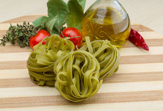 Green spinach fettuccine Royalty Free Stock Image