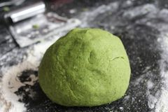 Green spinach and healthy dough stock photography