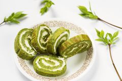 Green spinach roll. Stock Photo