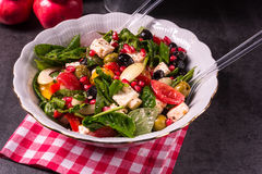 Green Spinach Salad With Feta And Olives Royalty Free Stock Images