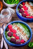 Green spinach smoothie bowl with raspberry,blackberry,flax seeds, sunflower seeds and coconut chips Stock Image