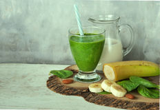 Green spinach smoothie Stock Photo