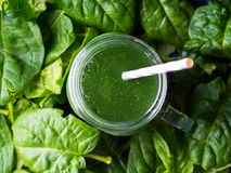 Green spinach spirulina smoothie in mason jar Royalty Free Stock Image