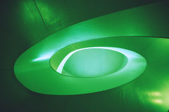 Green spiral abstract architecture from building interior. Abstract architecture in modern building Stock Photos