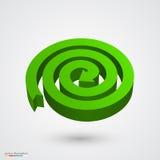 Green spiral arrow 3D. Vector Stock Photo