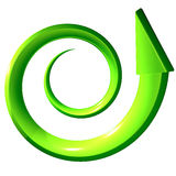 Green spiral arrow 3D. On white background Stock Images