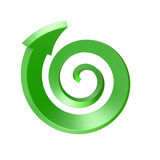 Green spiral arrow. Top view Royalty Free Stock Photography