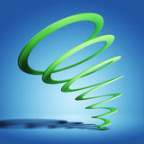Green spiral on blue. Green spiral with shade on blue background Royalty Free Stock Photo