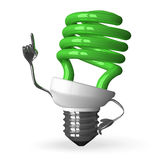 Green spiral light bulb character in moment of insig Stock Photography