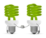 Green spiral light bulb characters handshaking isolated Stock Image