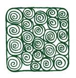 Green Spirals. A selection on hand drawn spirals aligned into a simple bold design royalty free illustration