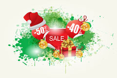 Green  Splash and Christmas Sale İcon Background Stock Photo