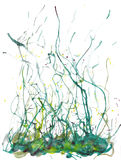 Green splashed watercolor artwork Stock Photos