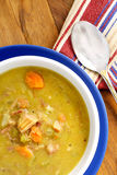 Green split pea soup. French Canadian recipe filled with fibre rich legumes ham carrots celery and onions Stock Images