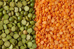 Green Split Peas And Red Lentils Royalty Free Stock Images