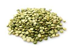Green split peas. On white background royalty free stock photos