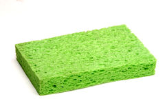 Green Sponge. For cleaning on white background stock photo