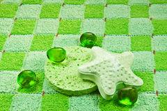 Green sponge, bath foam and salt. stock photos