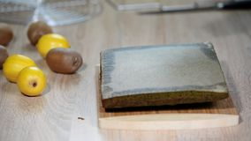 Green Sponge Cake removed from form.  stock video