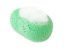 Green sponge with foam isolated Royalty Free Stock Photos