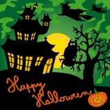Green spooky house 02 stock illustration