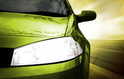 Green Sport Car - Front side Stock Photo