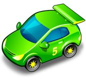 Green sport car over white. Illustration with green funny sport car for white background royalty free illustration