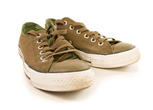 Green sport shoes isolated Royalty Free Stock Photo