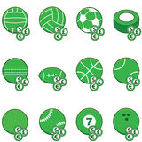 Green sports betting icons. Collection of green sports balls with coins on top of them to symbolize sports betting Royalty Free Stock Photography