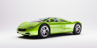 Green sports car 2. Lateral view of a green sports car on a neutral background royalty free illustration