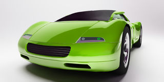 Green sports car. Frontal view of a green sports car on a neutral background royalty free illustration