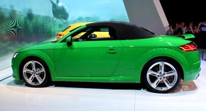 Green sports car at the auto show Stock Photography